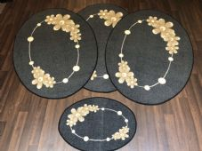 ROMANY GYPSY WASHABLES MATS FULL SET OF 4 MATS/RUGS X LARGE 100X140CM OVAL GREY